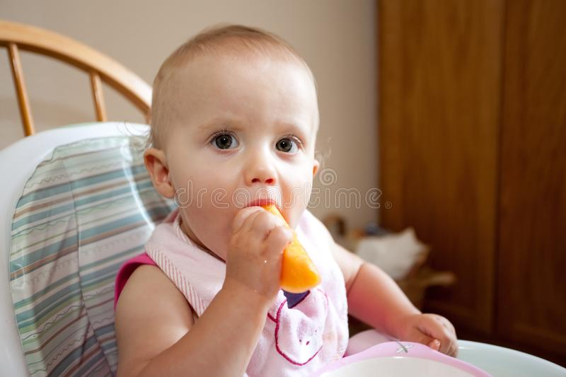 Download Baby eating cantaloupe stock image. Image of happy, little - 10509223