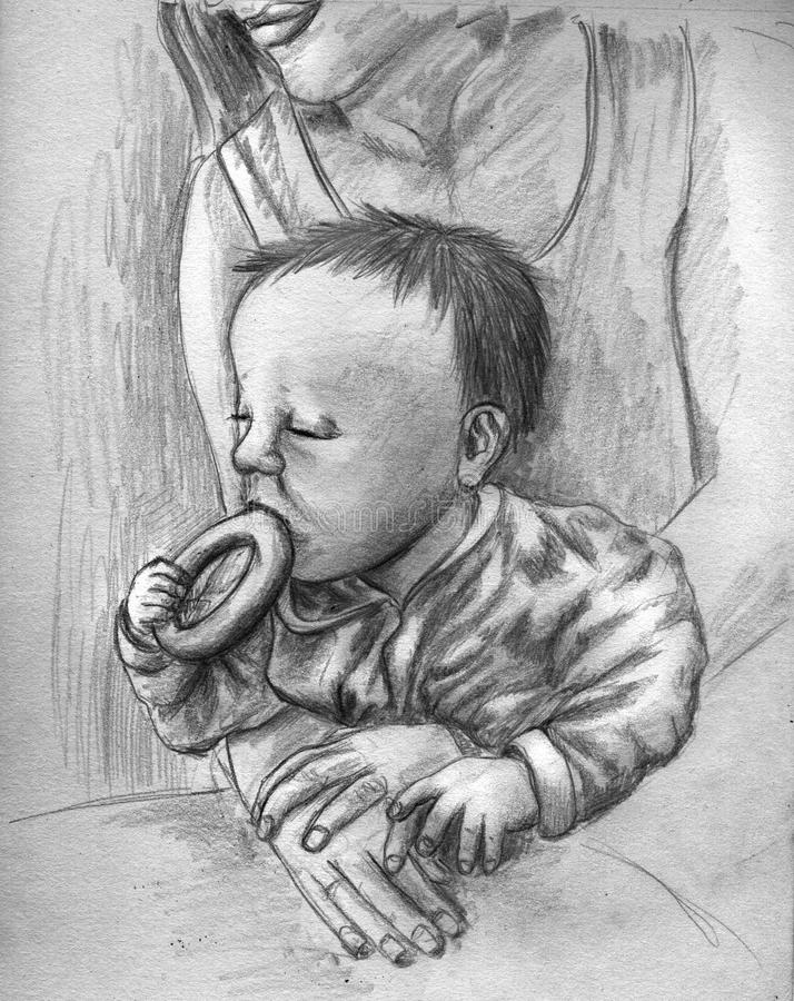Baby eating pastry royalty free illustration