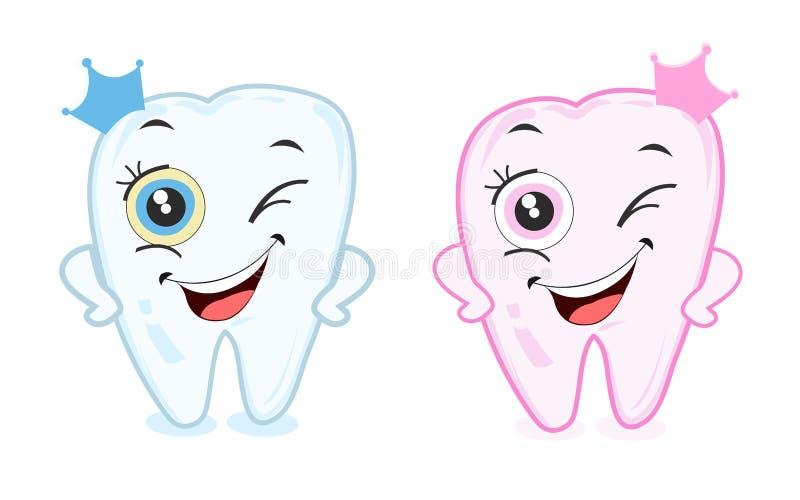 Baby eerste tand voor jongens en meisjes De vector van het tanddeel royalty-vrije illustratie