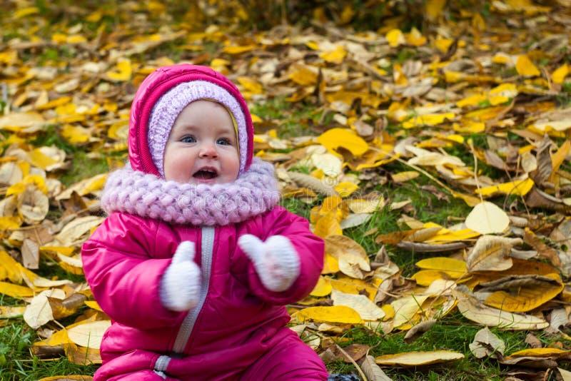 Baby in einem schönen Herbstwald geht und genießt ein gutes sonniges Wetter stockbild