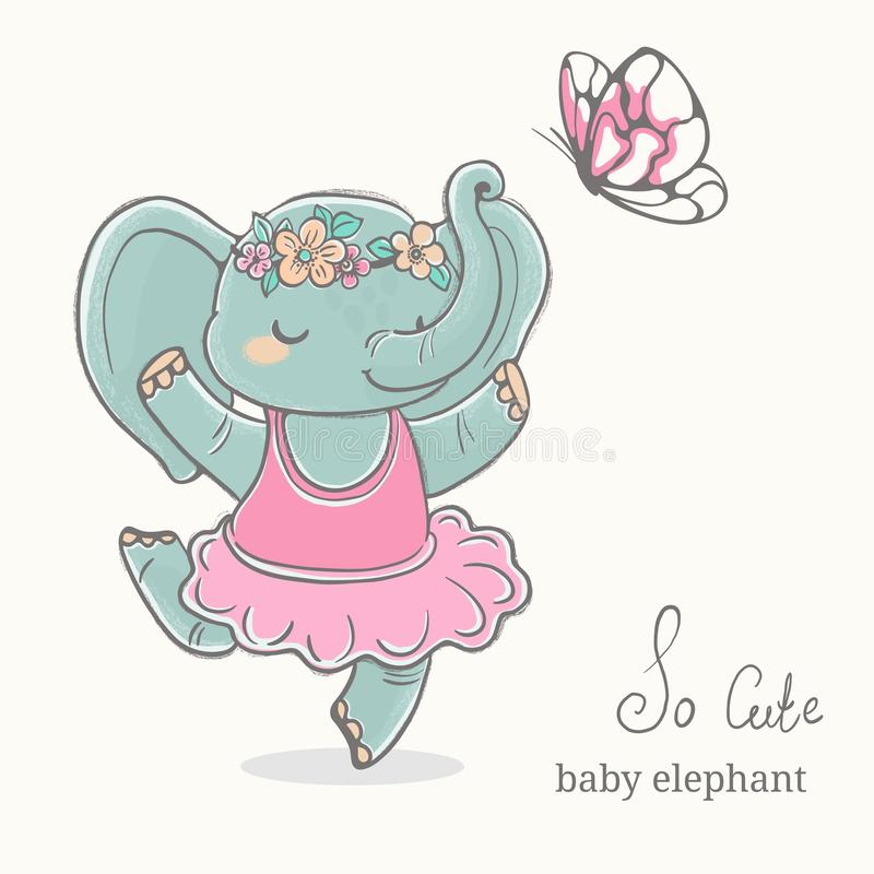 Baby elephant ballerina dancing ,kid illustration, cute animal drawing royalty free stock photography