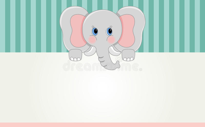 Baby elephant banner. Scalable vectorial image representing a baby elephant banner stock illustration