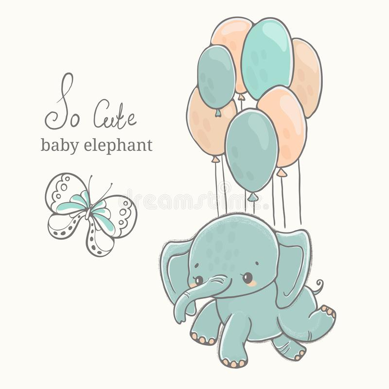 Baby elephant with butterfly flying on baloon, illustration, cute animal drawing stock images