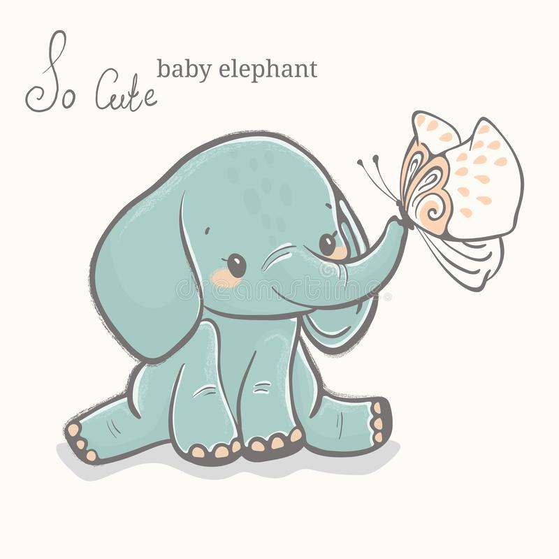 Baby elephant with butterfly illustration, cute animal drawing royalty free stock images