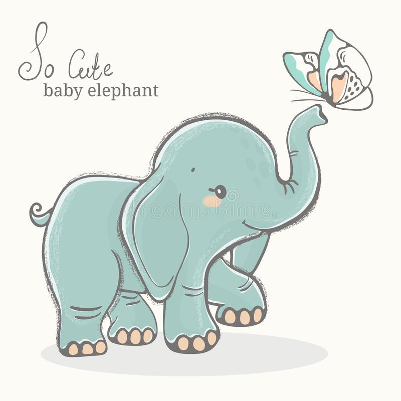 Baby elephant with butterfly illustration, cute animal drawing royalty free stock photo