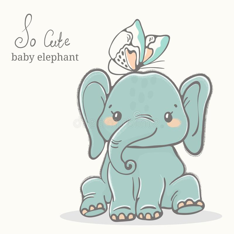 Baby elephant with butterfly illustration, cute animal drawings stock photography