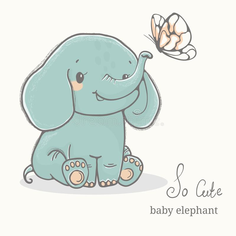 Baby elephant with butterfly illustration, cute animal drawings royalty free stock photo