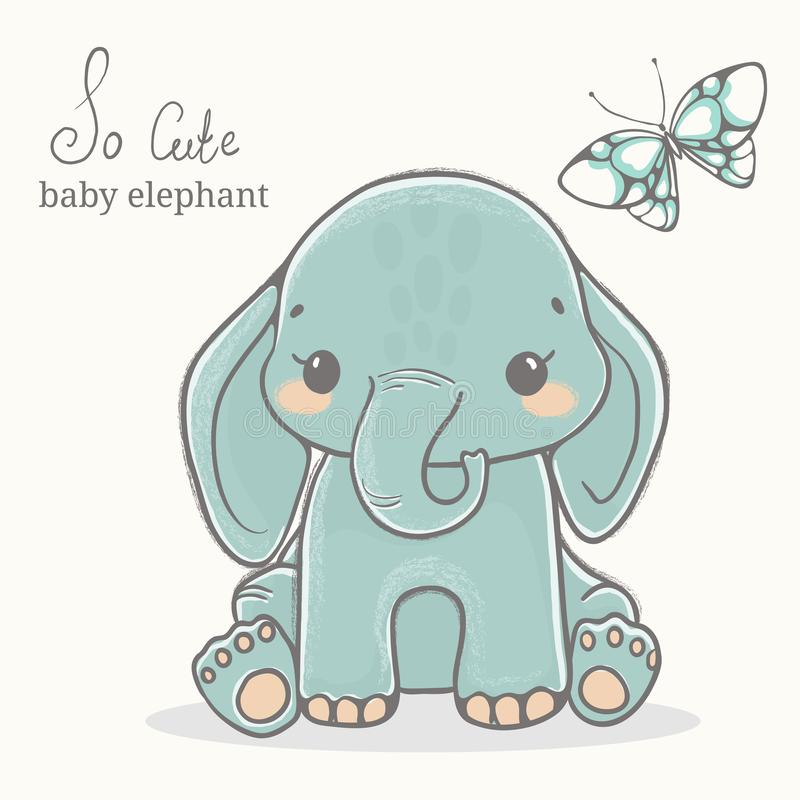 Baby elephant with butterfly illustration, cute animal drawings royalty free stock images