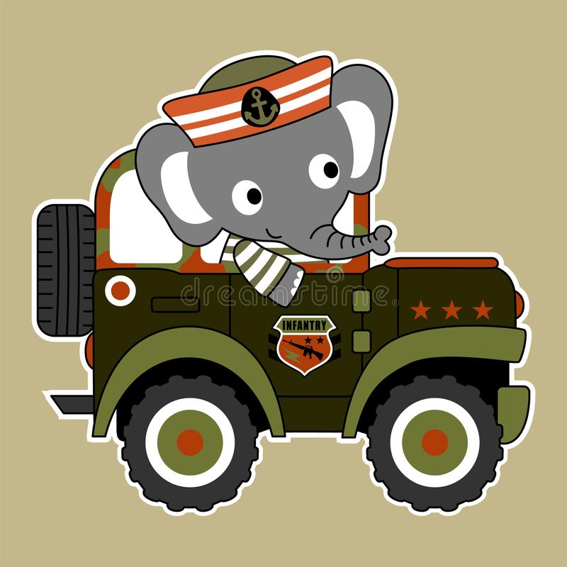 Baby elephant cartoon on army vehicle royalty free illustration