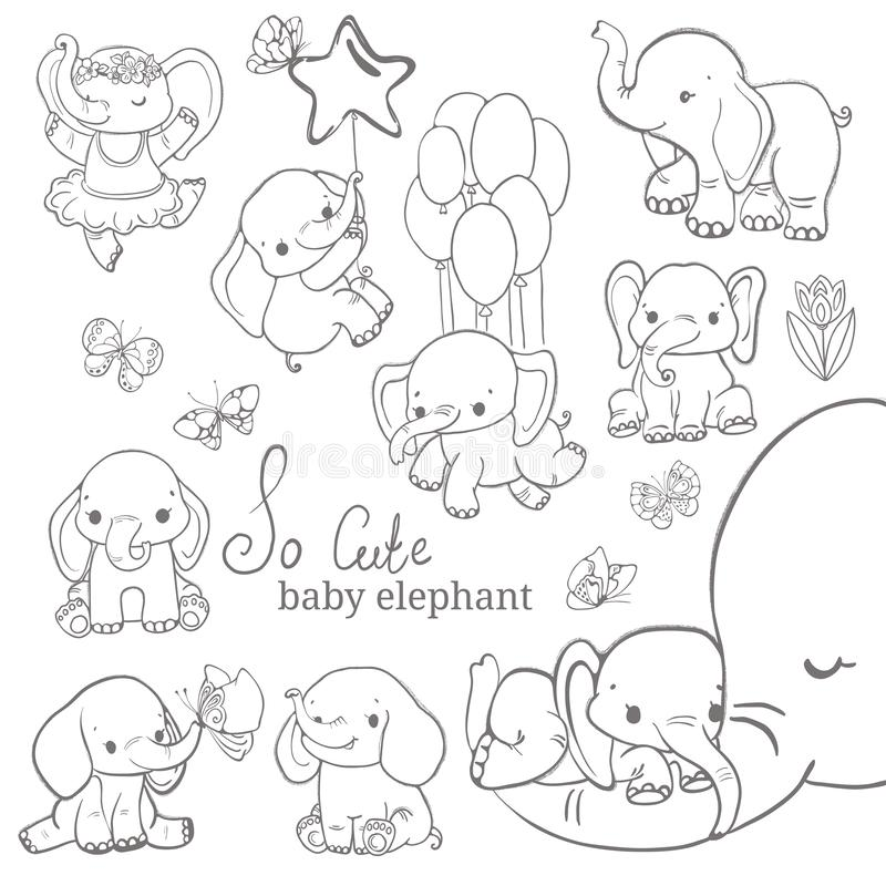 Baby elephant collection over white background stock image