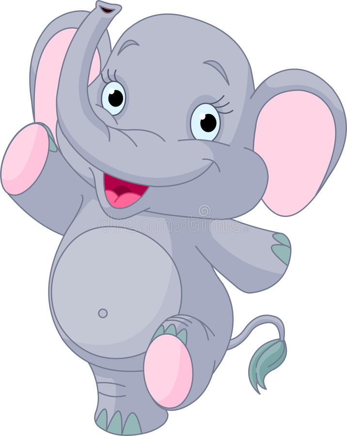 Baby elephant dancing royalty free illustration