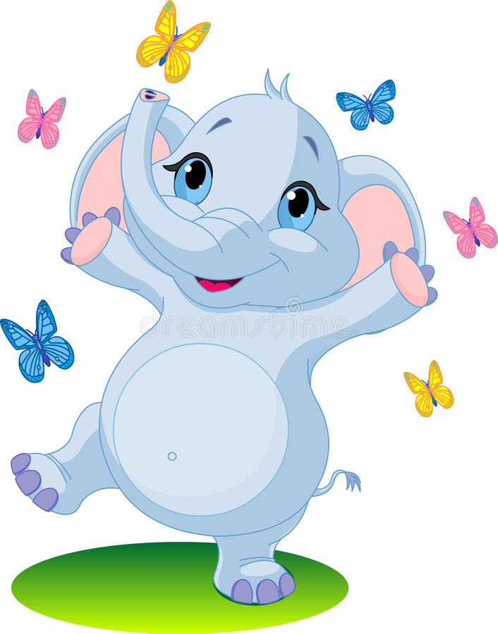 Download Baby Elephant Dancing With Butterflies Stock Illustration - Image: 13982188