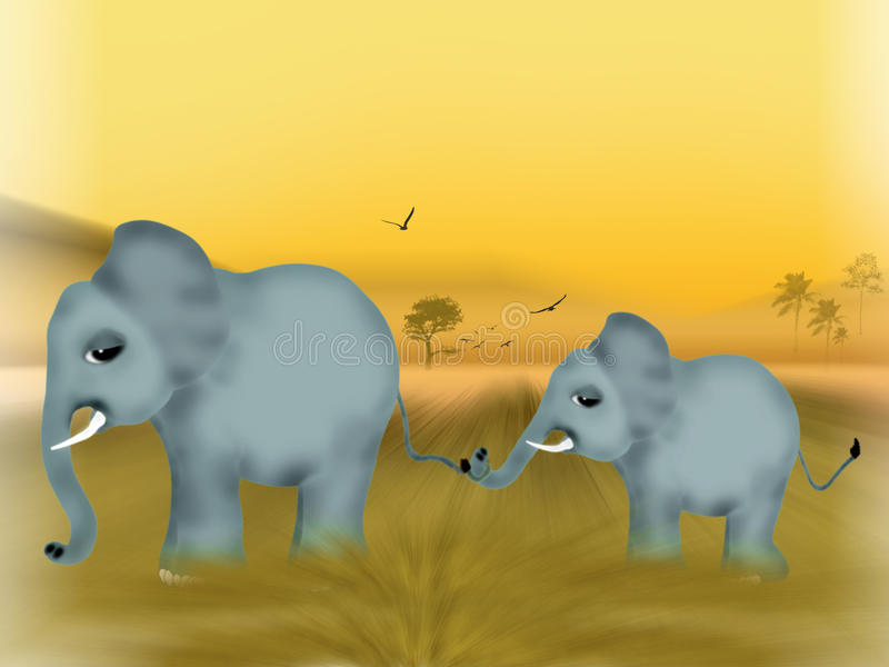 Baby elephant and his mother royalty free stock images