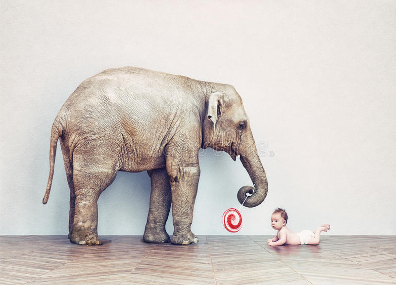 Baby elephant and human baby royalty free illustration