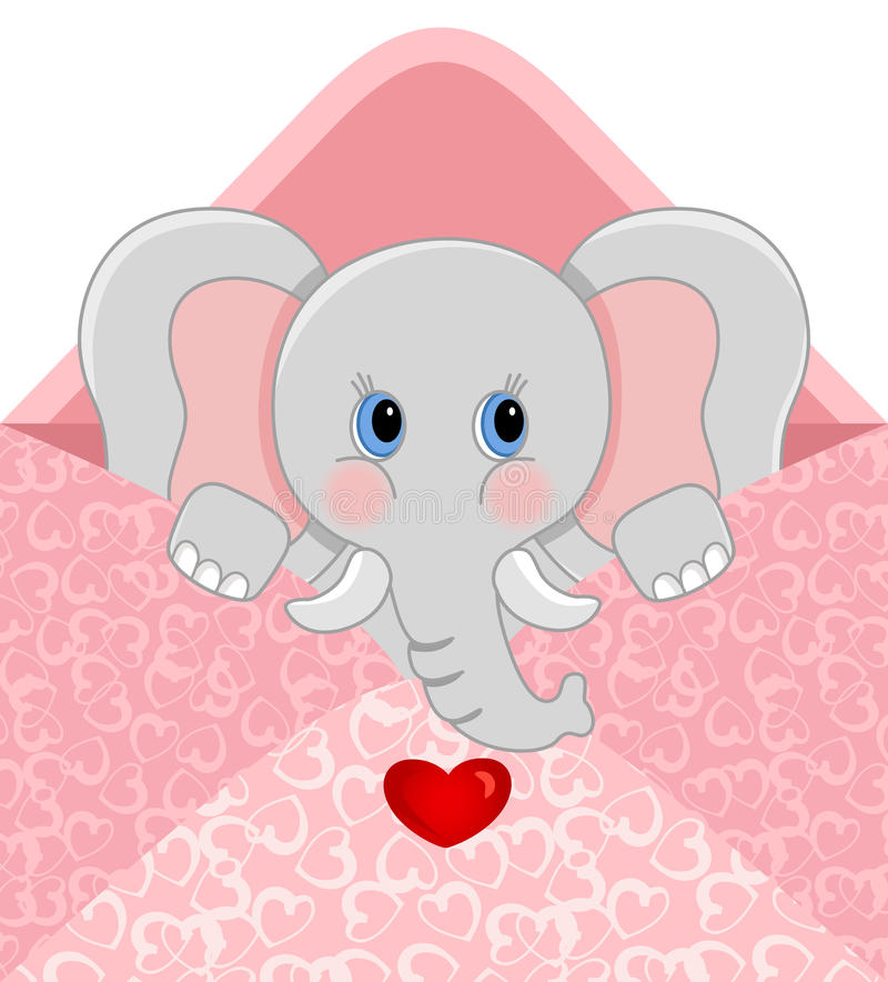 Baby elephant inside love envelope. Scalable vectorial image representing a baby elephant inside love envelope, isolated on white stock illustration