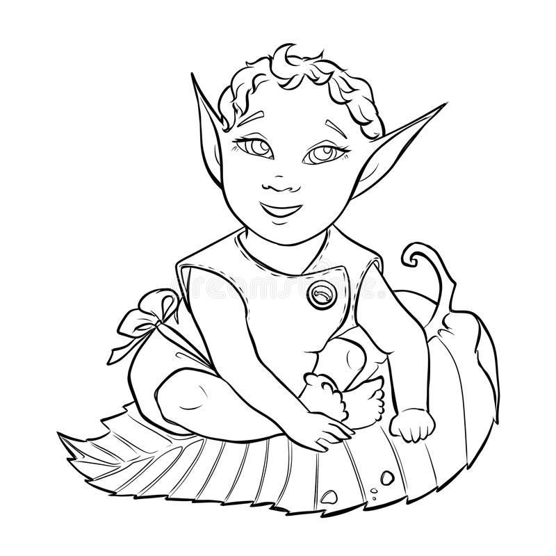 Baby elf line art. Hand drawn line art of baby elf for coloring book royalty free illustration