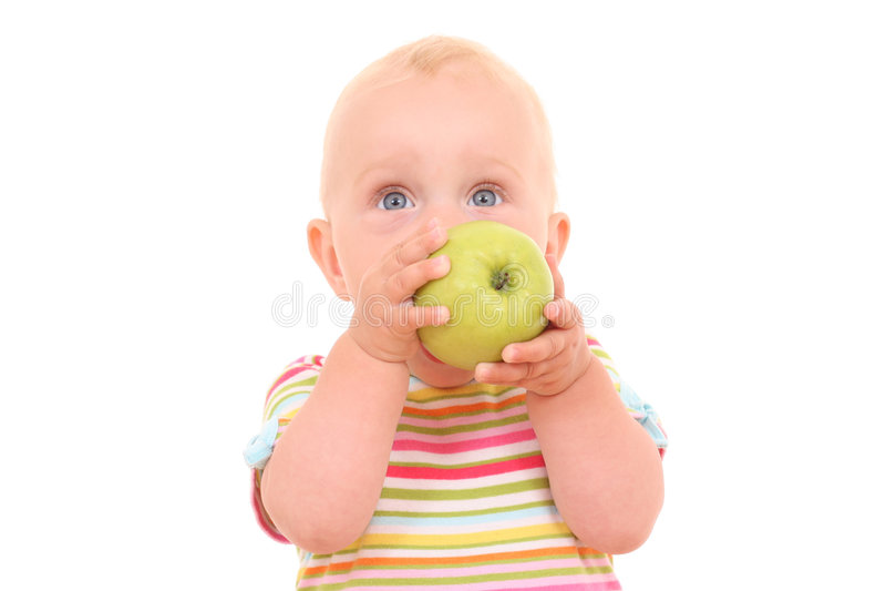 Baby en appel stock fotografie