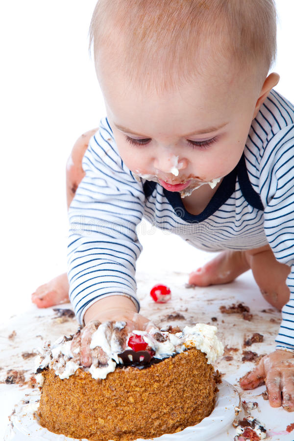 Baby en cake stock foto's