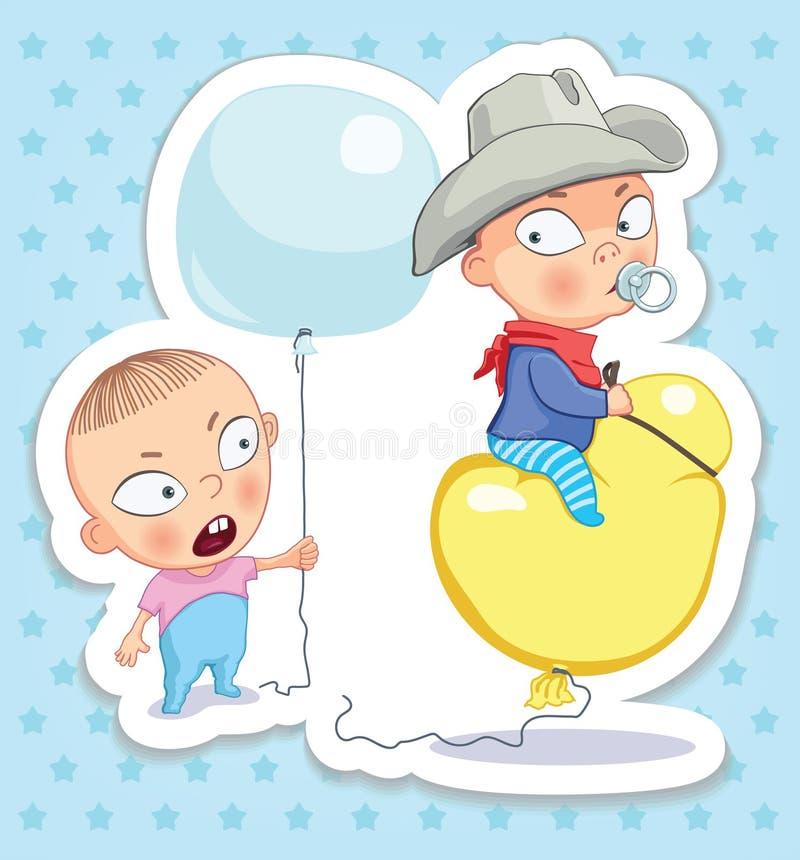 Baby en cowboy Gelukkige kinderjaren van jonge geitjes Grappige stickers royalty-vrije illustratie