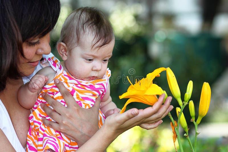 Baby en Gele Lilly stock afbeelding
