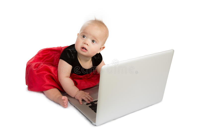 Baby en laptop royalty-vrije stock foto