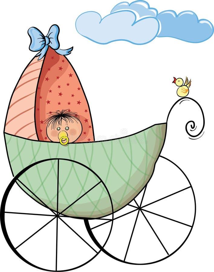 Baby en miniatuurauto vector illustratie