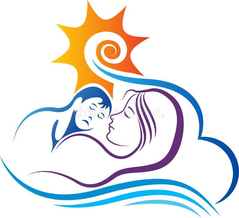 Baby en moederdroomslaap vector illustratie