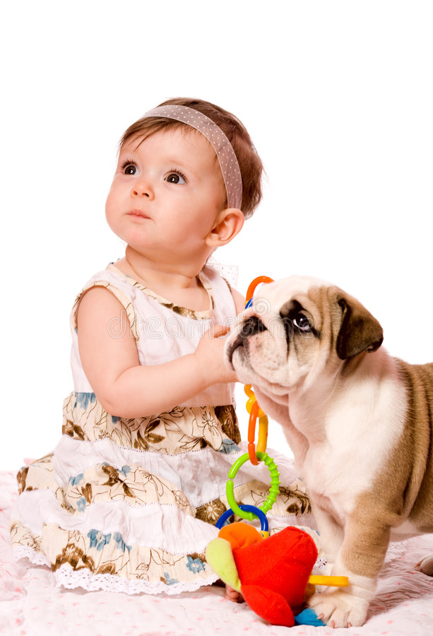Baby en puppy royalty-vrije stock afbeelding