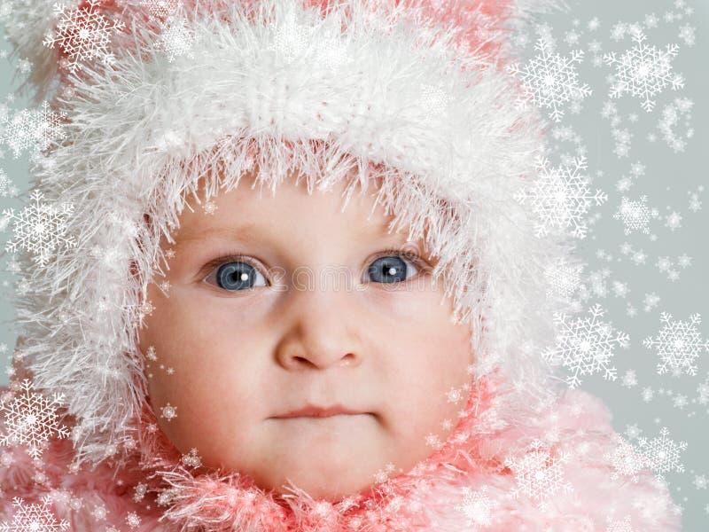 Baby en sneeuw royalty-vrije stock foto
