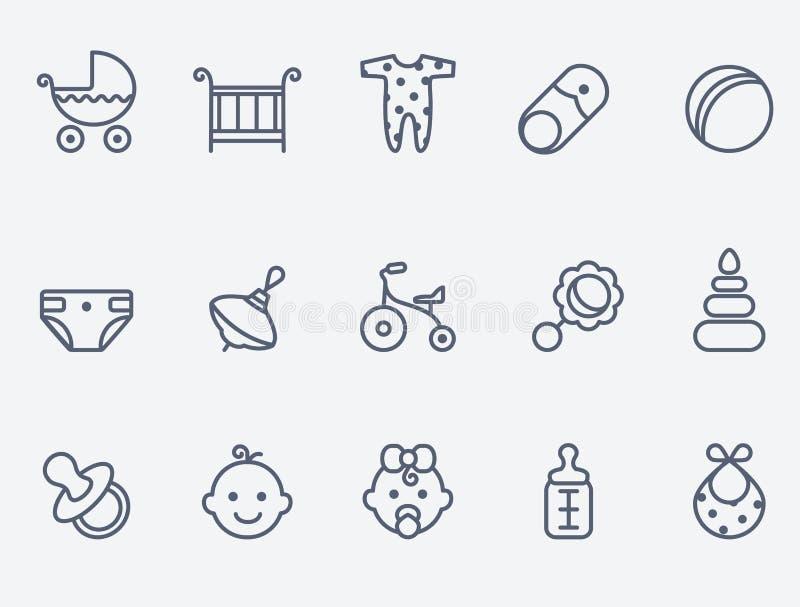 Baby en stuk speelgoed pictogrammen vector illustratie