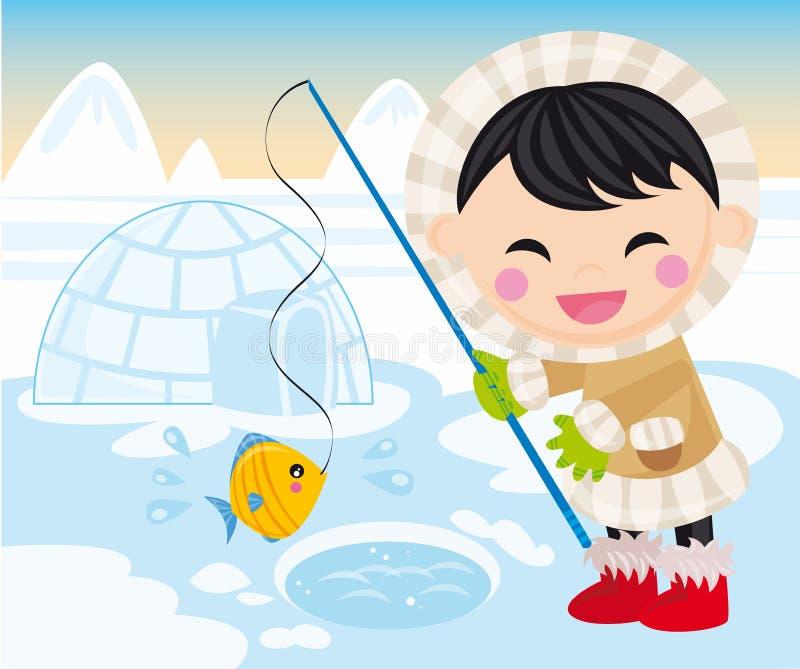 Baby eskimo. Illustration of baby eskimo, fish and igloo