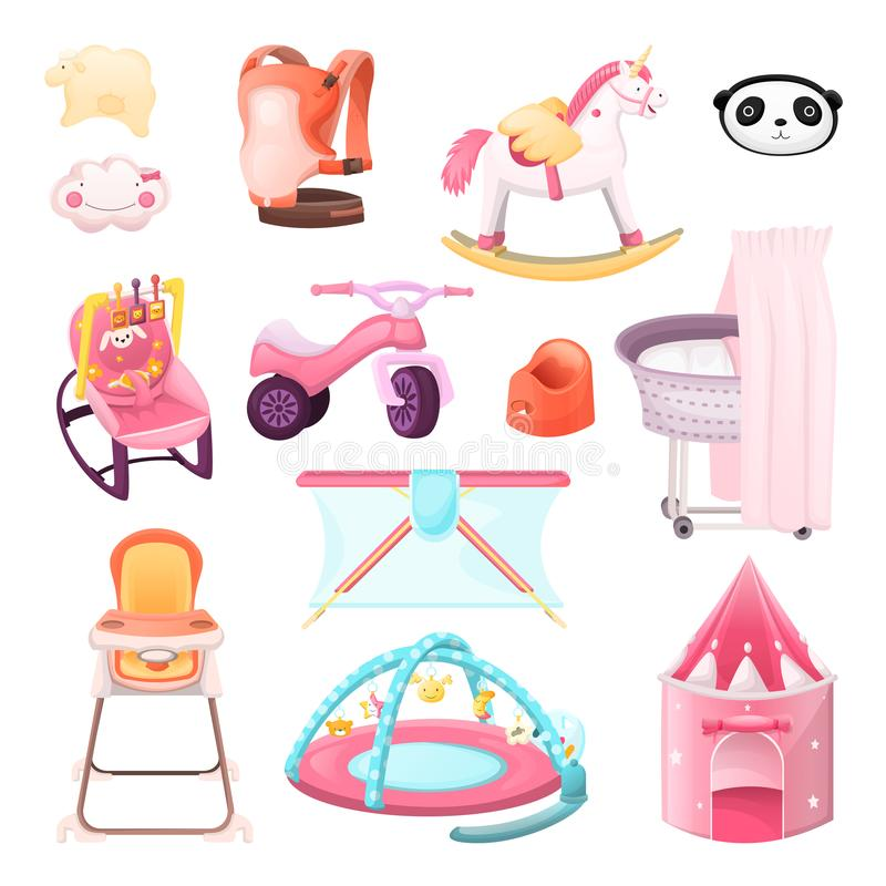 Baby essentials goods set. Vector icons and design elements. Color kids stuff for playing, feeding, nursery royalty free illustration