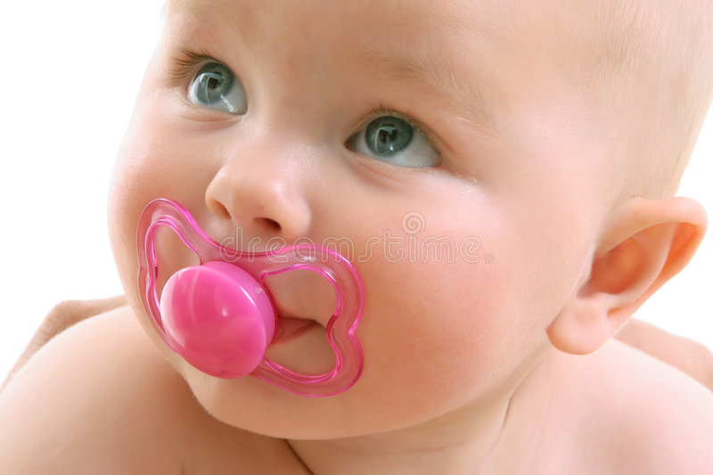 Baby face over white. Beautiful baby face closeup over white stock image
