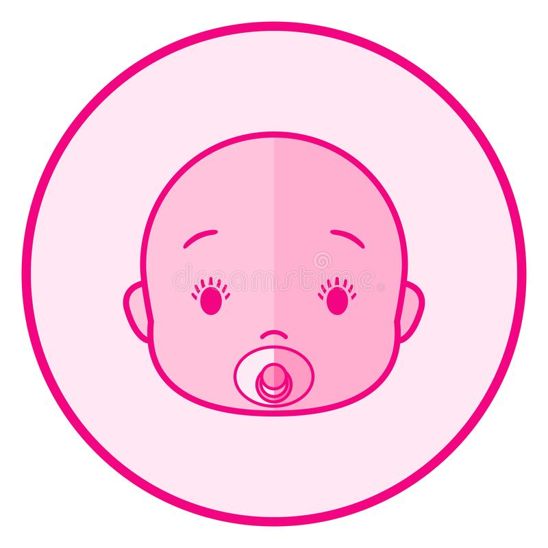 Baby face. Pink baby icon on a white background vector illustration