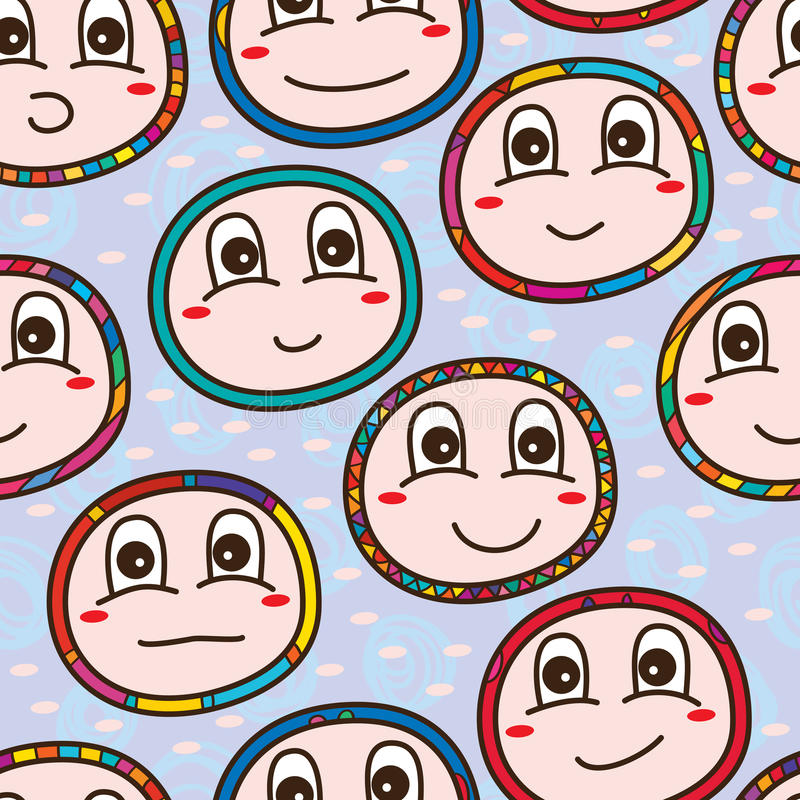 Baby face seamless pattern royalty free illustration