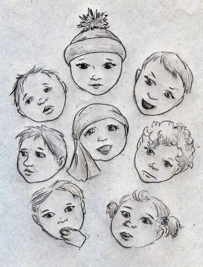 Download Baby faces stock illustration. Image of child, face, drawn - 43265824