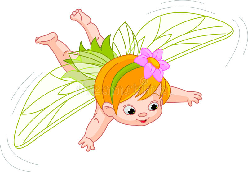 Baby fairy in flight. Illustration of a cute baby fairy in flight vector illustration
