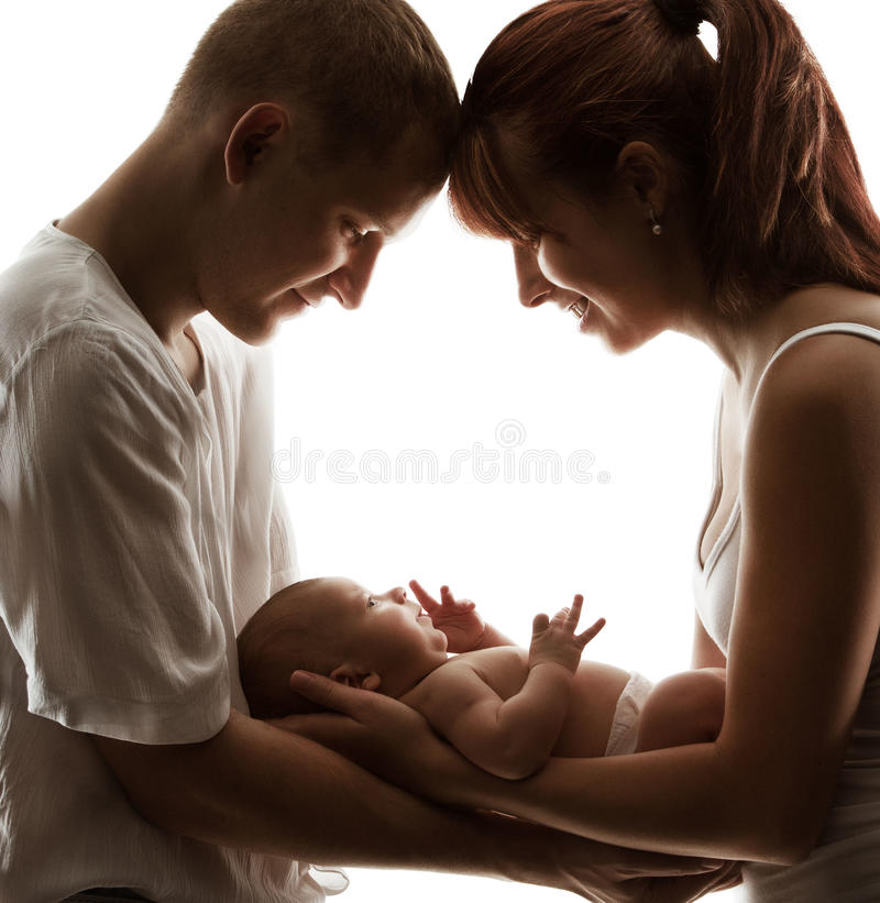 Baby Family Newborn Parents Kid New Born Mother Father Child. White background stock image