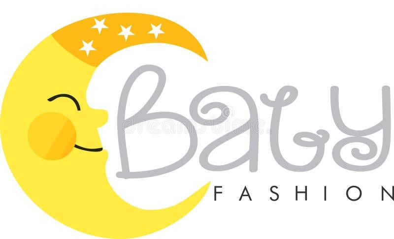 Baby fashion logo moon. Baby fashion logo depot moon vector illustration