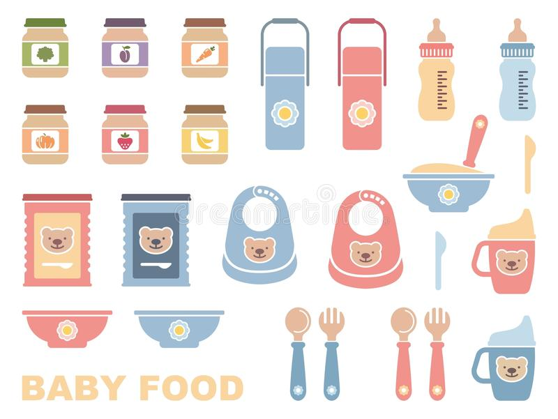 Baby food icon set vector illustration