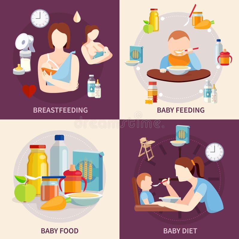 Baby Feeding 4 Flat Icons Square vector illustration