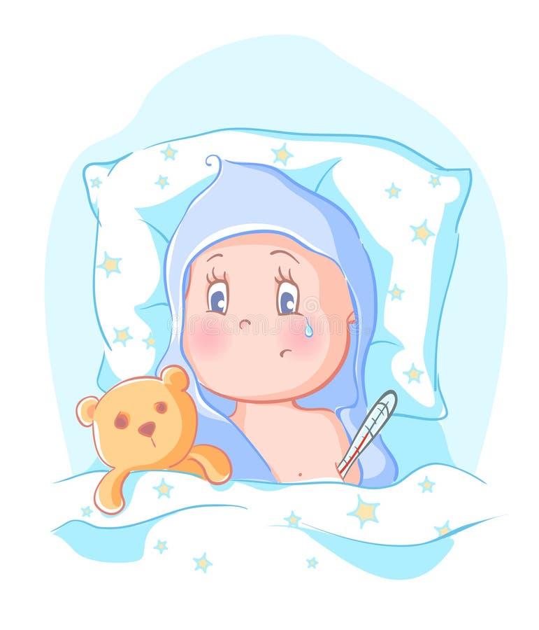 Baby fick sjuk royaltyfri illustrationer