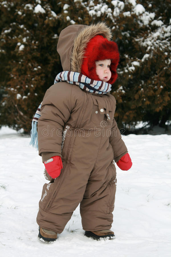 Download Baby first winter stock image. Image of excitement, coat - 12385535
