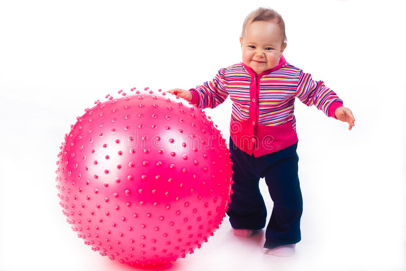 Baby with Fitness Ball. Isolated on white stock photography
