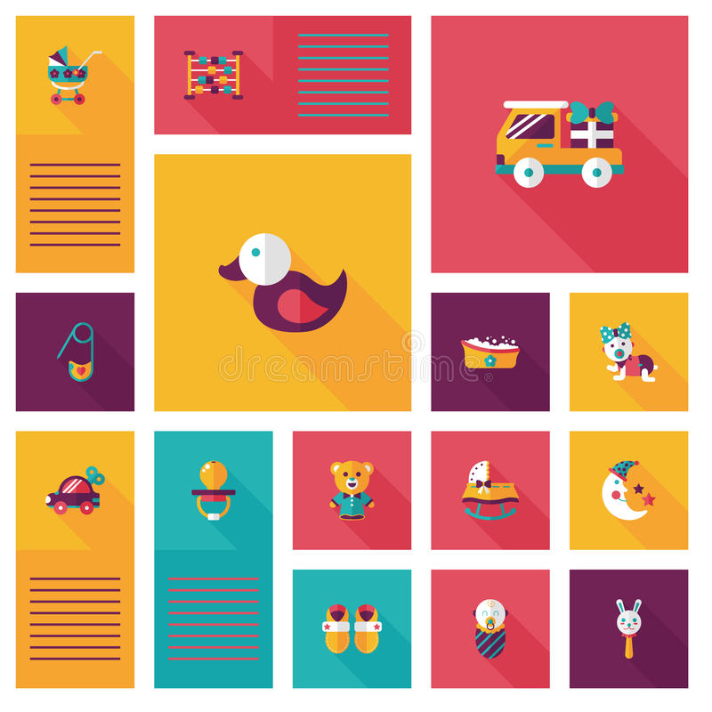 Baby flat ui bakcground set. Vector illustration file stock illustration
