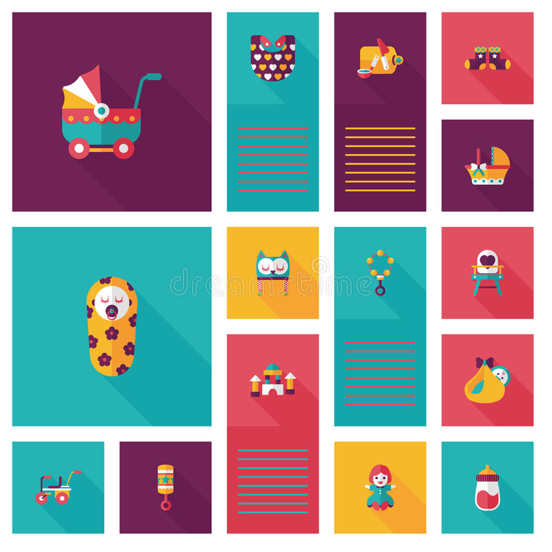 Baby flat ui bakcground set. Vector illustration file royalty free illustration