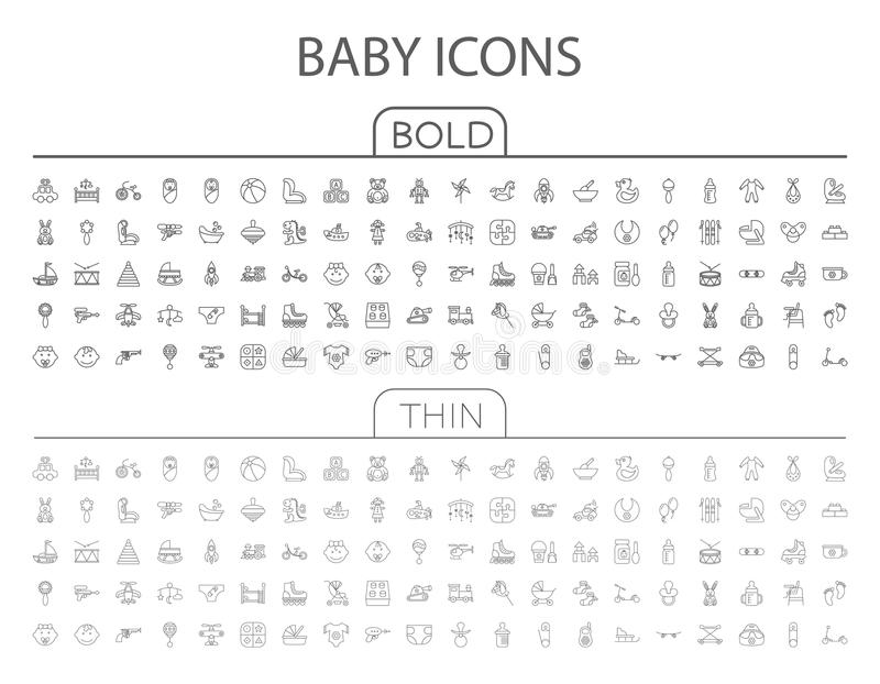Baby flat vector icon set vector illustration