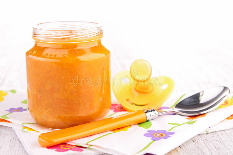Baby food. Close up on baby food stock photos