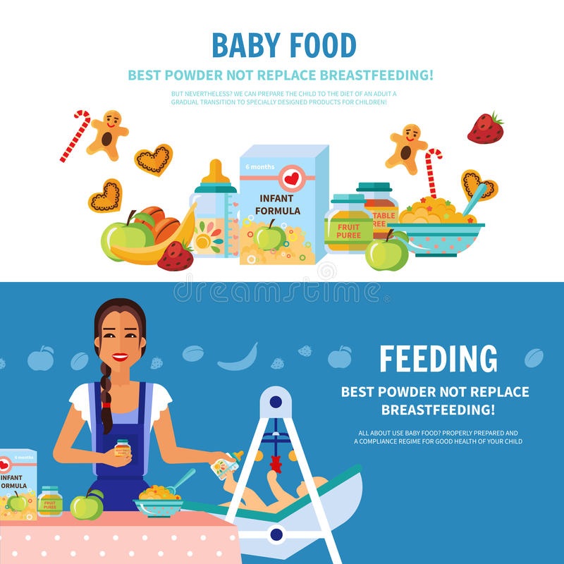 Baby Food 2 Flat Banners. Best milk formula choice and breastfeeding importance 2 flat banners baby food introduction for parents vector illustration royalty free illustration