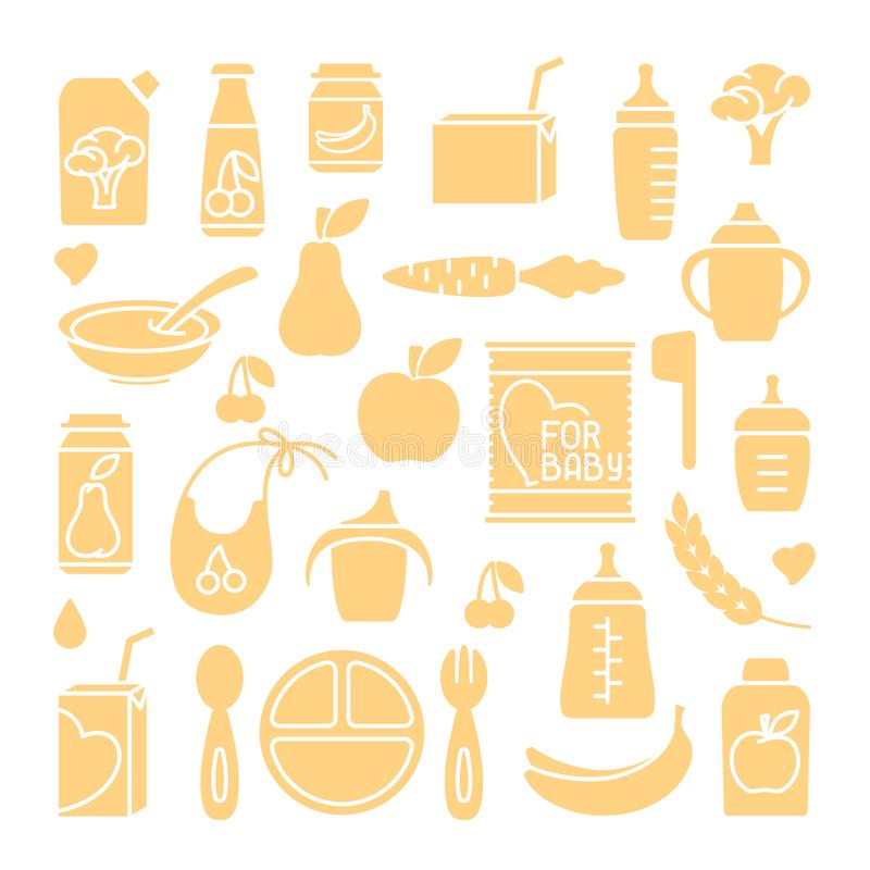 Baby food icons set royalty free illustration